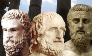 Aeschylus, Euripides and Sophocles.