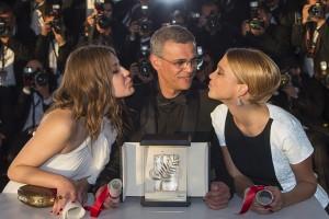 Abdellatif Kechiche , Adèle Exarchopoulos and Léa Seydoux at Cannes.