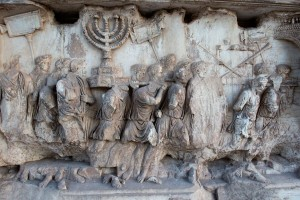 The looted Menorah displayed in the Roman Forum.