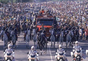 Over 3 millions attended the funeral in Sao Polo.