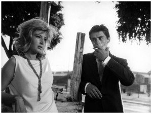 Monica Vitti and Alain Delon in L'eclisse.