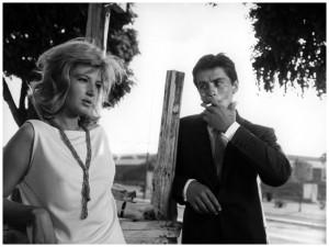 Monica Vitti and Alain Delon in L'eclisse.